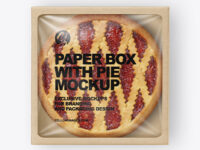 Paper Box With Pie Mockup