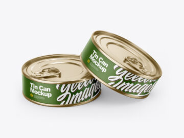 Two Tin Cans With Pull Tab Mockup
