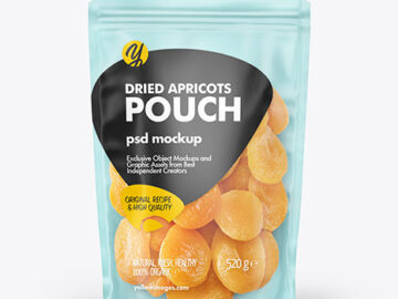 Frosted Plastic Pouch w/ Dried Apricots Mockup