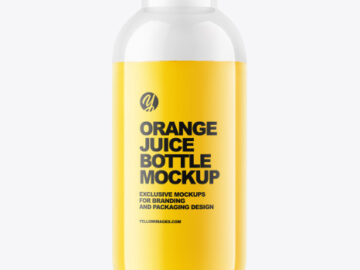 400 ml Orange Juice Bottle Mockup