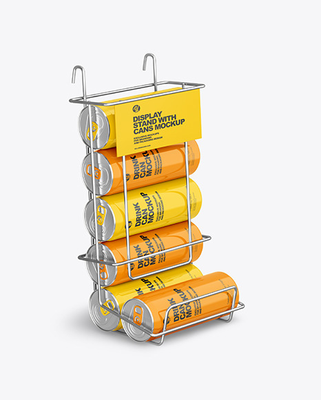 Display Stand w/ Glossy Cans Mockup