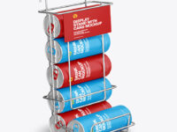 Display Stand w/ Matte Cans Mockup