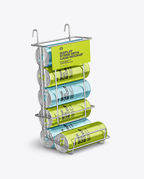 Display Stand w/ Metallic Cans Mockup