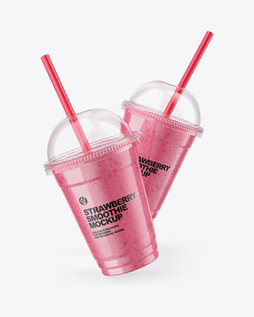 Two Strawberry Smoothie Cups Mockup