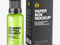 Clear Glass Dropper Bottle with Paper Box Mockup