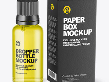Glass Dropper Oil Bottle with Paper Box Mockup