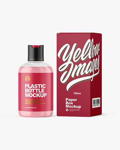 Clear Cosmetic Bottle with Box Mockup
