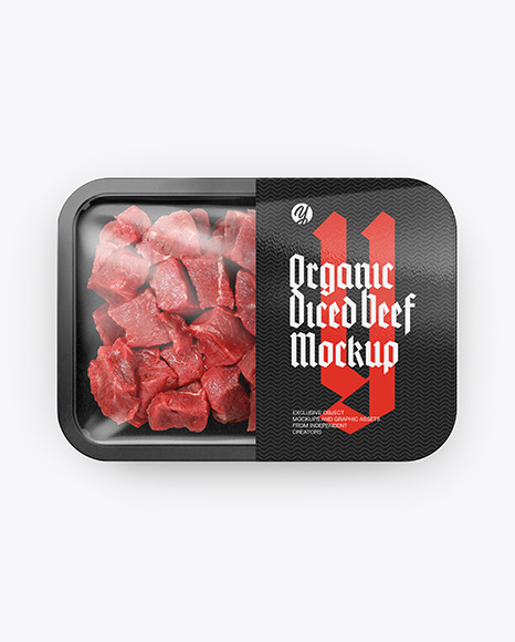 Plastic Tray With Diced Beef Mockup