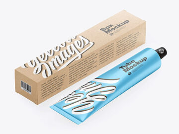 Kraft Box w/ Glossy Metallic Cosmetic Tube Mockup