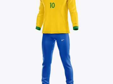 Football Kit with Long Sleeve Mockup – Half Side View
