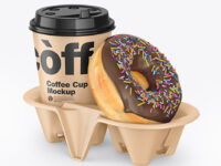 Kraft Coffee Cup with Donut in Holder Mockup
