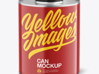 Tin Can with Glossy Finish Mockup