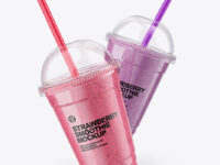 Strawberry and Blueberry Smoothie Cups Mockup