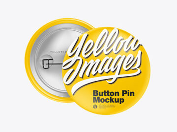Two Matte Button Pins Mockup