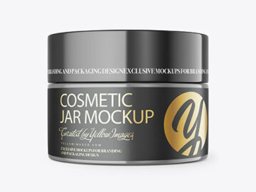 Closed Plastic Cosmetic Jar Mockup