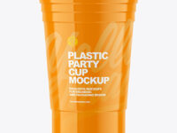 Glossy Plastic Party Cup Mockup