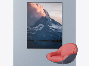Photo Frame on the Wall Mockup
