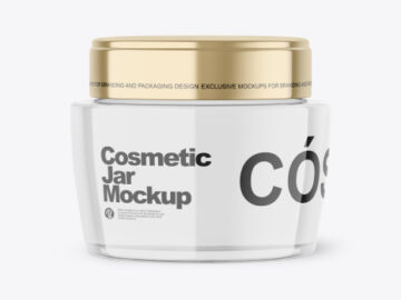 Clear Glass Cosmetic Jar Mockup