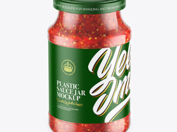 Glass Jar With Chili Sauce Mockup