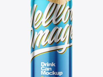 440ml Glossy Metallic Drink Can w/Foil Lid Mockup