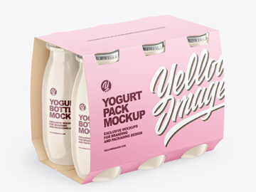 6x100ml Glossy Yogurt Pack Mockup