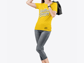 Woman in a Crew Neck T-Shirt & Jeans Mockup