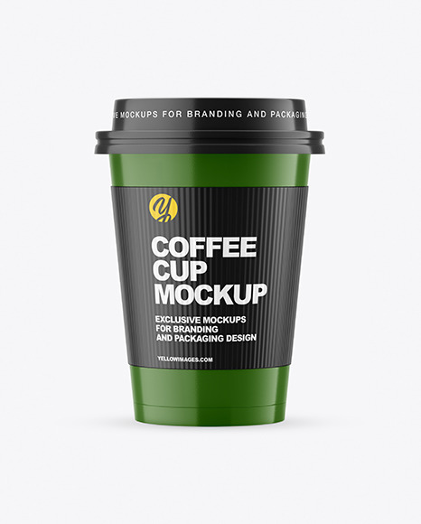 Glossy Paper Coffee Cup with Holder Mockup