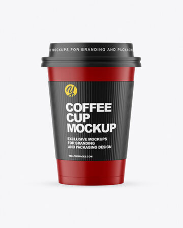 Matte Paper Coffee Cup with Holder Mockup