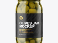 Clear Glass Jar with Olives Mockup