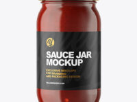Clear Glass Jar with Red Sauce Mockup