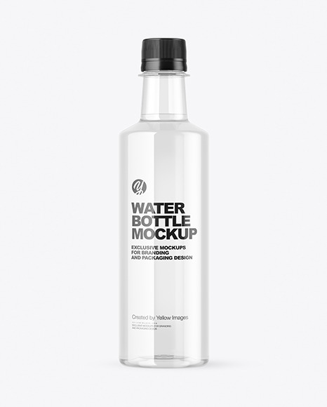 Clear Plastic Bottle with Water Mockup