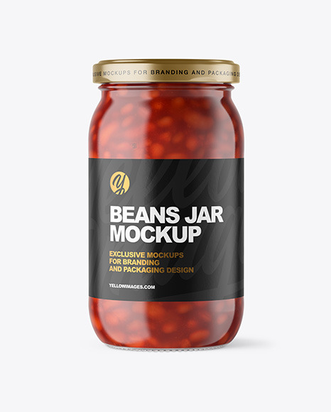Clear Glass Jar with Beans Mockup