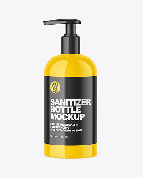 Glossy Sanitizer Bottle with Pump Mockup