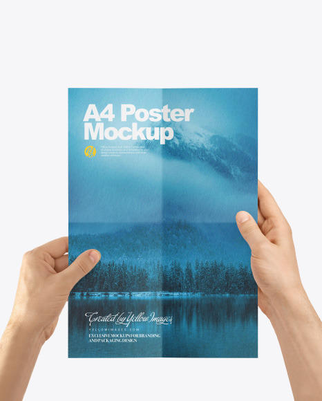 A4 Poster in a Hand Mockup