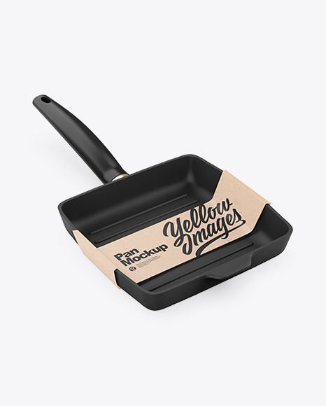 Grill Frying Pan with Kraft Paper Label Mockup
