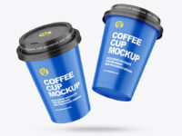 Two Matte Coffee Cups Mockup