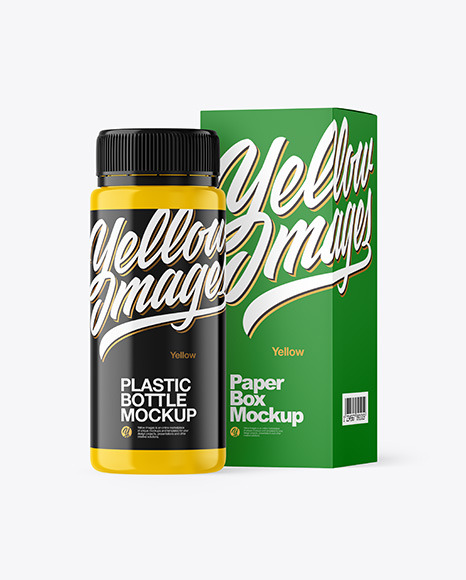 Glossy Plastic Bottle with Box Mockup
