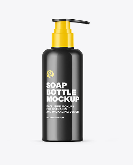 Glossy Soap Bottle with Pump Mockup
