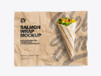 Papper Wrapper With Salmon Wrap Mockup