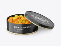 Round Tin Can with Dragee Mockup