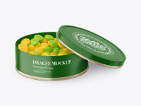 Round Tin Can with Kraft Finish & Dragee Mockup