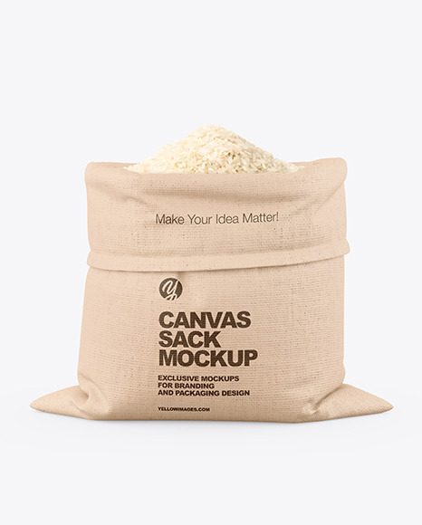 Canvas Sack with Rice Mockup