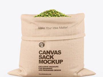 Canvas Sack with Dried Green Peas Mockup