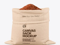 Canvas Sack with Red Rice Mockup