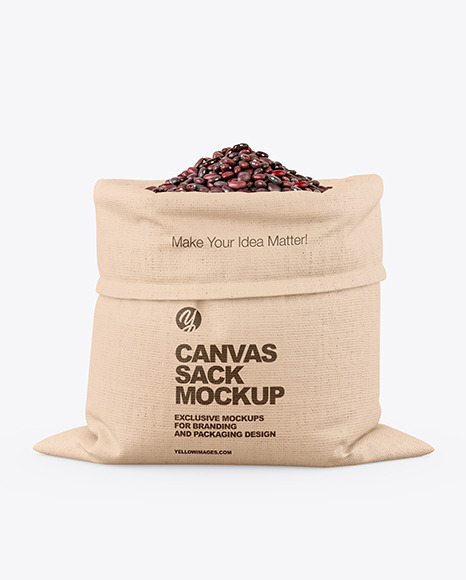 Canvas Sack with Red Beans Mockup
