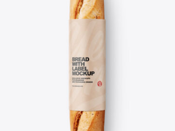 Baguette Bread with Label Mockup