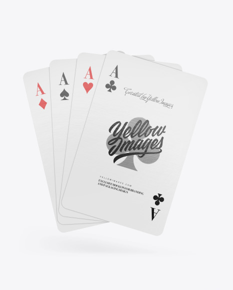 Four Playing Cards Mockup