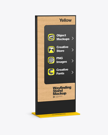 Wayfinding Stand With Wooden Desk Mockup