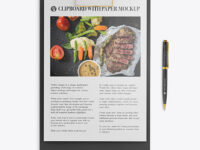 Clipboard with Pen Mockup