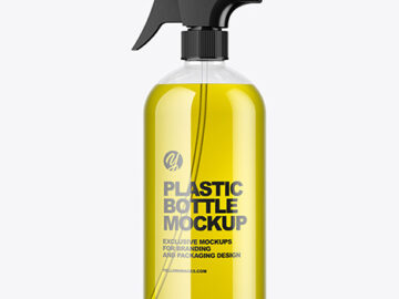 Clear Spray Bottle with Oil Mockup